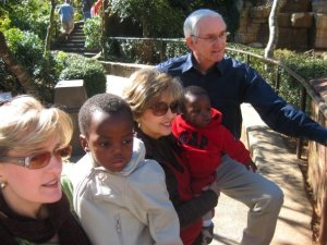 at the zoo with Grandparents